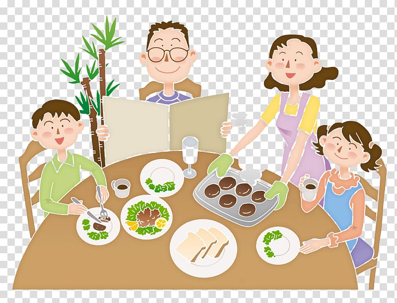 eating-cartoon-family-meal-illustration-the-family-eats-together-illustration